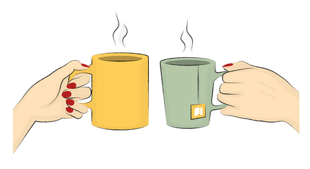 Vector Illustration Of Hands Of Two Woman Enjoying Their Hot Drinks Illustration