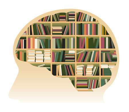 Conceptual Vector Illustration Of A Human Brain Filled With Books. Representing Knowledge.