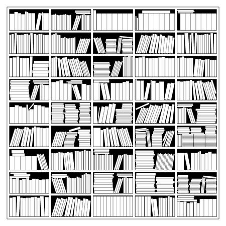 peruse: Vector Illustration Of A Bookshelf In Black And White