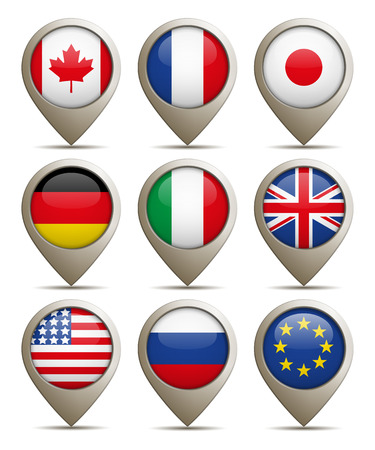 Illustration Of Location Pins F Group of Eight Nations. Pins And The Flags Can Be Separated.