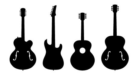 hollow body: Vector Illustration Of Four No Name, No Brand, Imaginary Jazz Guitar Silhouettes.