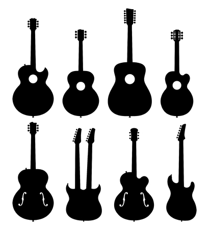 hollow body: Illustration Of A Set Of No Name, No Brand, Imaginary Jazz Guitar Silhouettes.