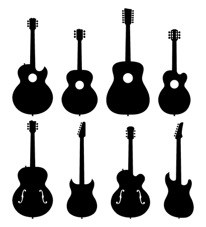 hollow body: Vector Illustration Of A Set Of No Name, No Brand, Imaginary Jazz Guitar Silhouettes.