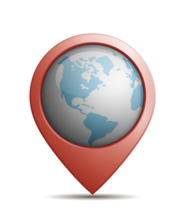 Vector Illustration Of A Straight Location Pin With Globe In It