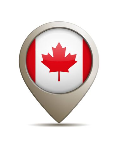 Vector Illustration Of A Straight Location Pin With Canada Flag