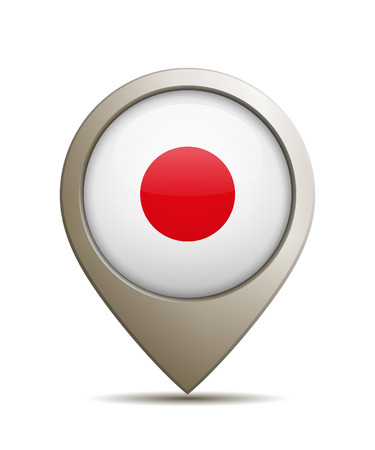 Vector Illustration Of A Straight Location Pin With Japanese National Flag Иллюстрация