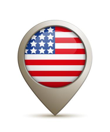Vectorillustratie Van Een Rechte Locatiepin Met Vlag Van De VS