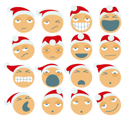 Set Of Santa Claus Cartoon Figures