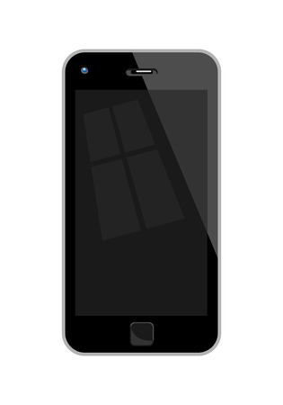 palmtop: Flat Design Vector Illustration Of A Mobile Phone