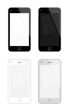 palmtop: Vector Illustration Of Mobile Phones. Four variations, No Transparency, No Gradient Used