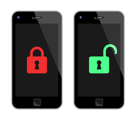 Vector Illustration Of Locked And Unlocked Black No Name Smart Phones.