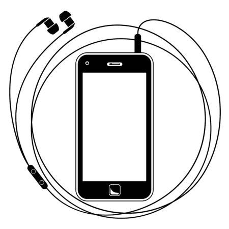 Eenvoudige vectorillustratie van een slimme telefoon met oortelefoons Stock Illustratie