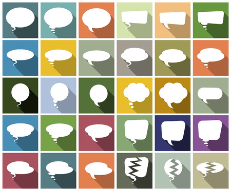Vector Illustration Of A Set Of Speech Bubbles On Colorful Background