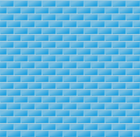 Vector Illustration Of Blue Wall Tiles As Seamless Pattern