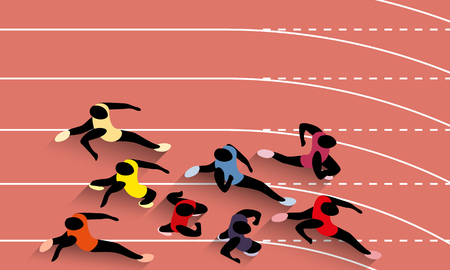Vector Illustration Of Racing Athletes