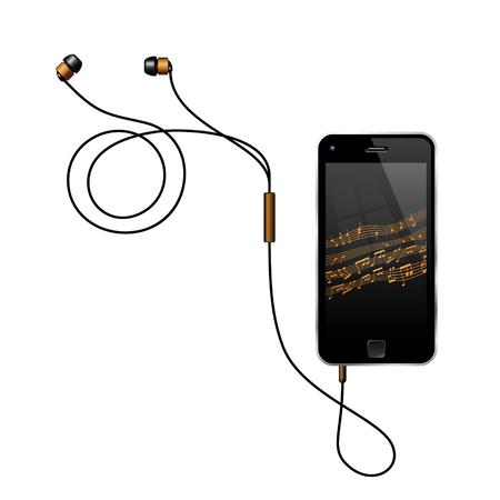 Semi-realistische vectorillustratie van een smartphone met koptelefoon muziek afspelen