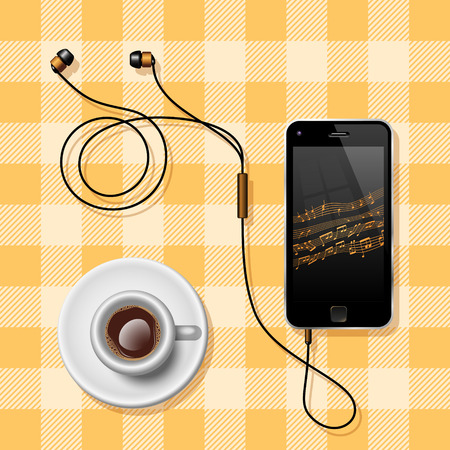 clothed: Semi Realistic Vector Illustration Of A Mobile Phone With The Earphones And A Coffee Cup On A Clothed Table Representing Coffee Break.