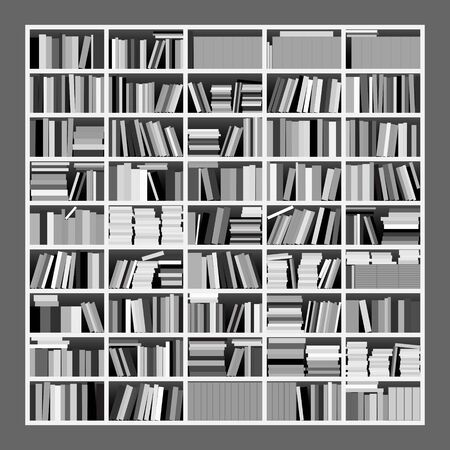 peruse: Vector Illustration of a Big Untidy Bookshelf in Gray Scale