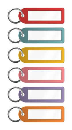 small group of objects: Colorful Key Fobs For Some Notes To Write On