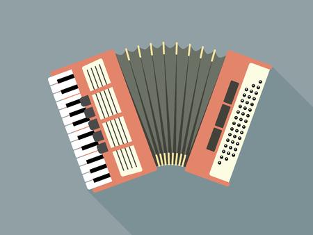 concertina: Flat Design Vector Illustration Of A Pink Accordion Illustration