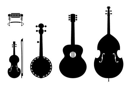 Vector Illustration of Music Instruments of a regular Country Music Band.