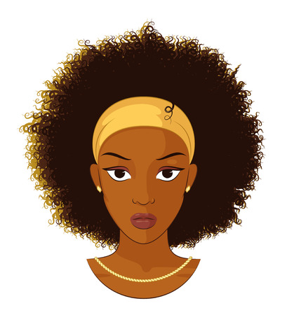Vector Illustration of an Afro Girl with Curly Hair Wearing Earrings and Necklace Stock Illustratie