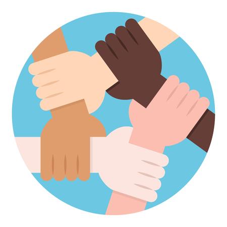 お互い連帯と団結のために保持している 5 つの人間の手のベクトル イラスト