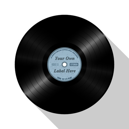 Blue Record. Vector Illustration of Vinyl Record Long Play