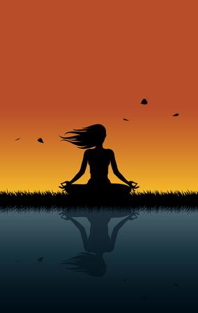 buena postura: Yoga una puesta de sol ventosa. Muchacha que se relaja haciendo yoga en una puesta del sol ventosa Vectores