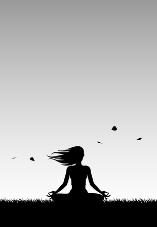 slhouette: Yoga at a Windy Sunset. Girl Relaxing doing Yoga at a Windy Sunset. S?lhouette.