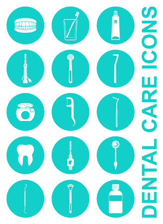 Vector Illustration of a Set of Dental Care Icons Illustration