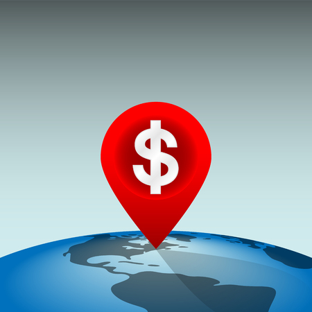 Location Pin Showing a Profitable Place in the World