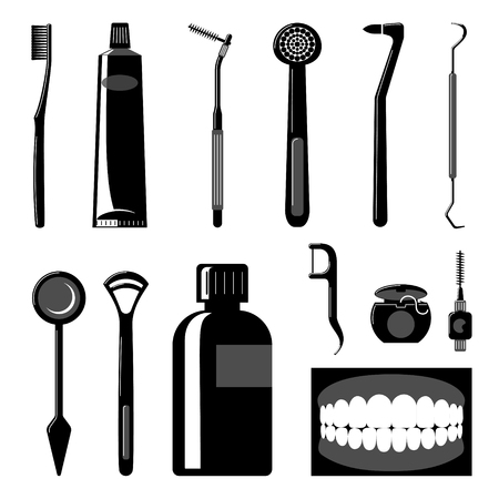Dental Care Items Silhouettes Illustration