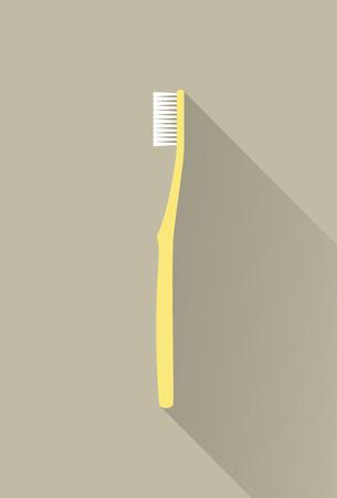 Yellow Toothbrush Flat Design. Flat Design Vector Illustration of a Yellow Toothbrush