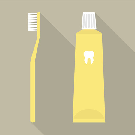 fluoride: Flat Design Vector Illustration of a Toothbrush and a Toothpaste in Yellow Color. Illustration