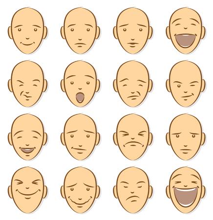 Caricature Faces. Caricature Emoticons Illustration