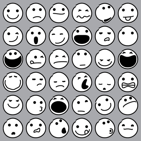 Caricature Emoticons Set on Gray Background