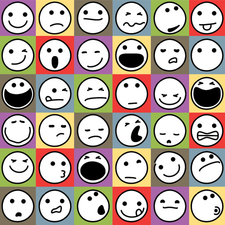 Caricature Emoticons Set on Colorful Background Illustration
