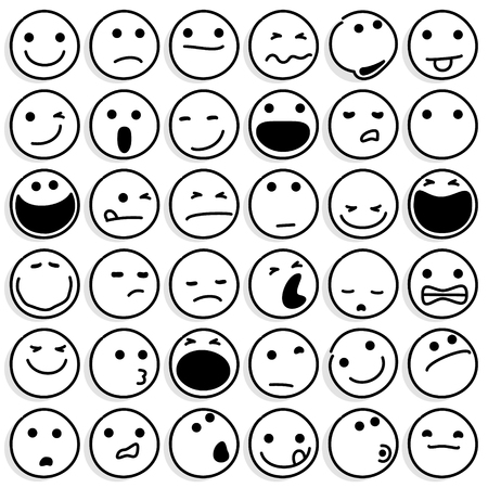 Line Drawing Vector Illustration of Caricature Emoticons Set on White Background