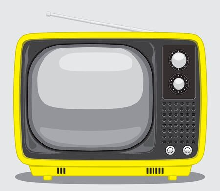 Vintage TV. Vector Illustration of a Vintage Yellow TV Imagens - 73492898