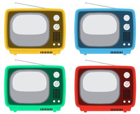 Ilustración de cuatro televisores de la vendimia en cuatro colores diferentes. Foto de archivo - 73533323