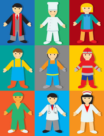 Professions with Colors & Shadows. Vector Illustration of People of Different Professions for Children Illustration