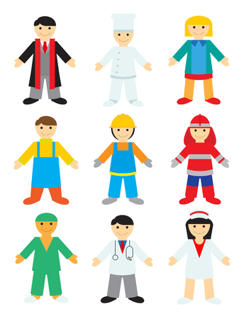 enfermera con cofia: Profesiones sobre fondo blanco. Ilustraciones Vectoriales de Personas de Diferentes Profesiones para los Niños. Vectores