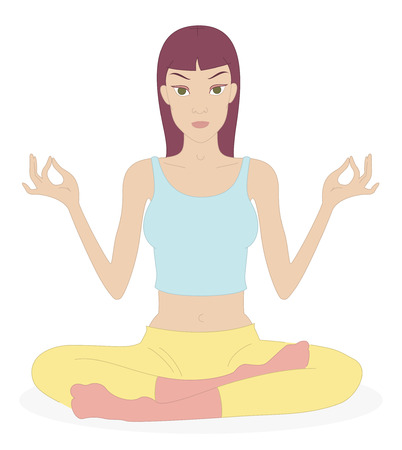 Yoga. Vector Illustration of a young woman in Yoga Exercise