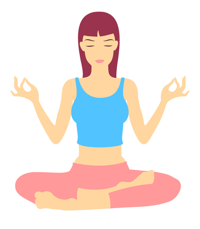 Yoga Trance. Vector Illustration of a young woman in Yoga Exercise
