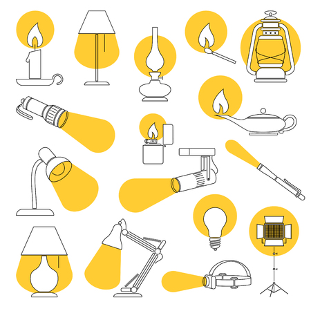 Lamp Lights. Line Drawing of a Set of Lamp and Lighting Equipments