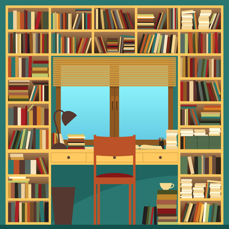 peruse: Bookshelf and Work Desk. Vector Illustration of a Bookshelf with a Work Desk in front of a Window Illustration