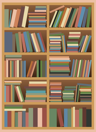 peruse: Vector illustration of a Untidy Bookshelf with Pastel Colored Books