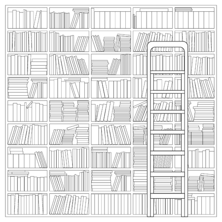 Bookshelf with Ladder. Outline Drawing of a Bookshelf with Ladder