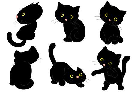 Six Black Cats. Vector Illustration of Six Black Cute Kittens
